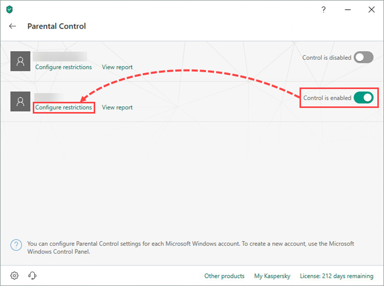 Opening restrictions settings for a user account in Kaspersky Internet Security 19