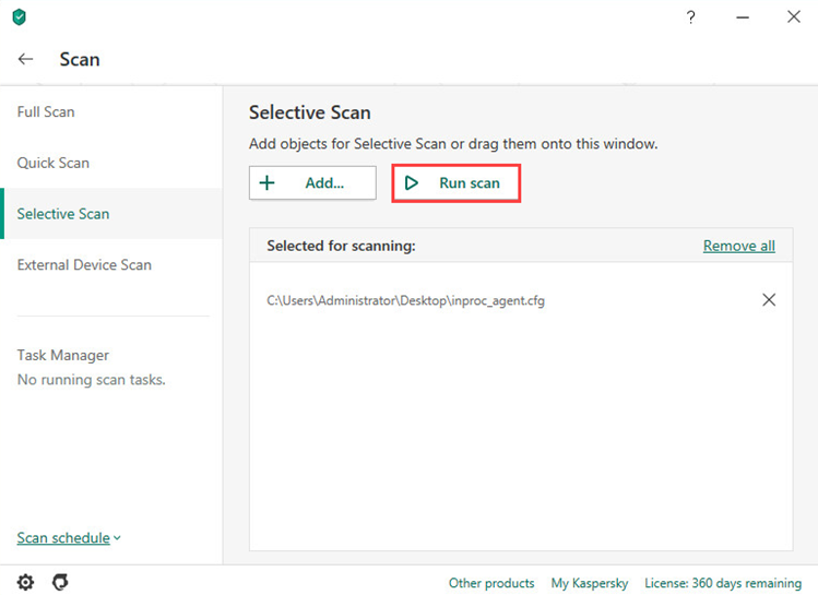 Running a selective scan in Kaspersky Internet Security 20
