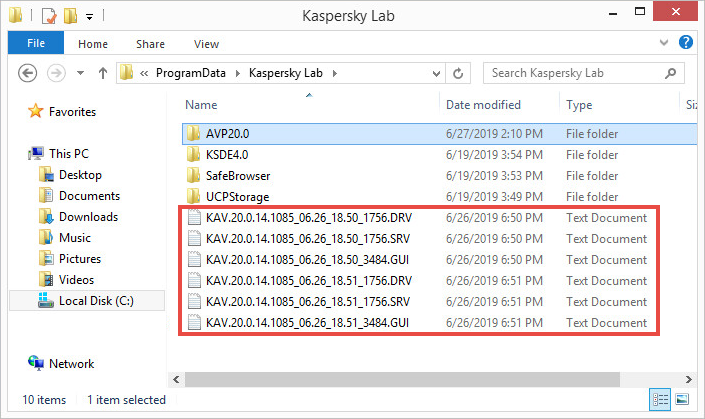 Kaspersky Total Security 20 trace files