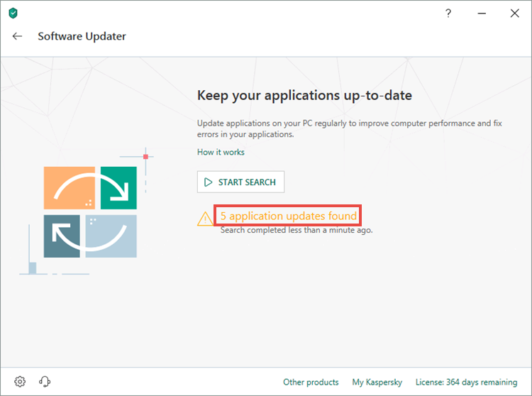 Detected updates in Kaspersky Internet Security 19