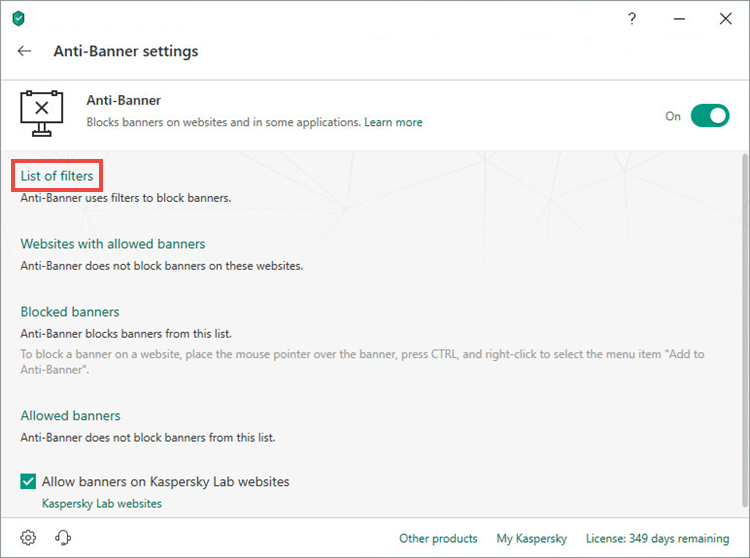 Opening the Anti-Banner list of filters of Kaspersky Total Security 19