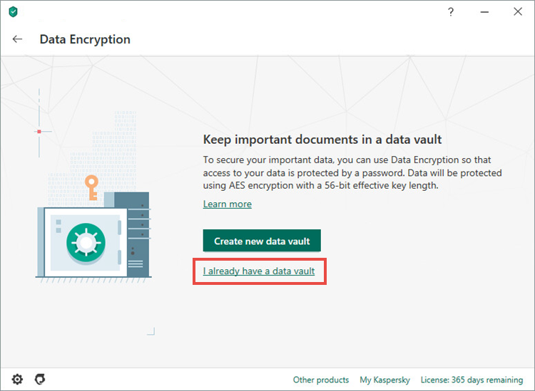 Adding a data vault in Kaspersky Security Cloud 20