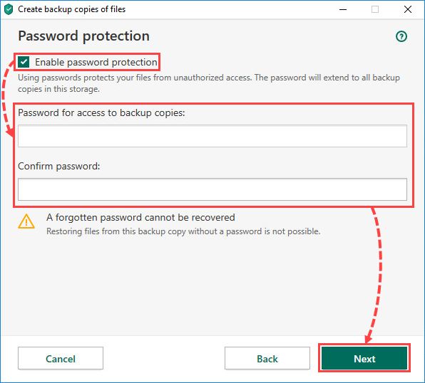 Setting a password for the vault in Kaspersky Security Cloud 20