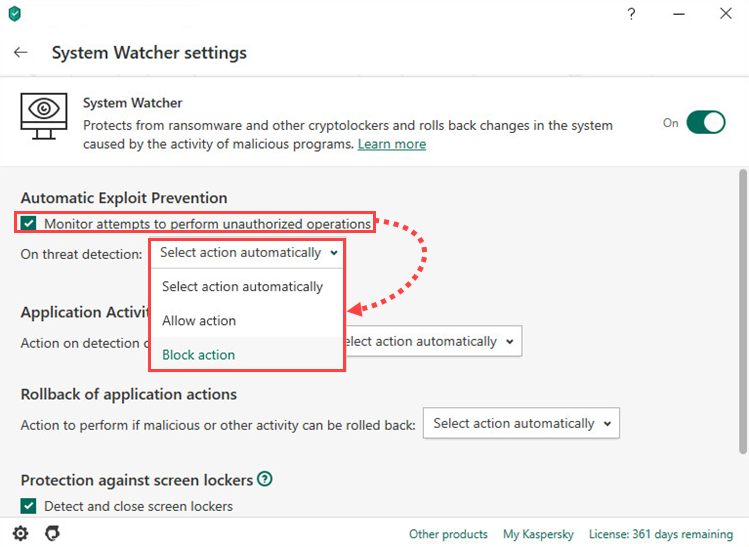 Configuring Automatic Exploit Prevention in Kaspersky Internet Security 20