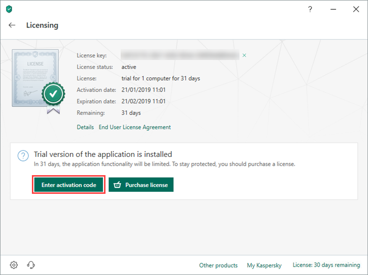 Opening the licensing window of Kaspersky Internet Security