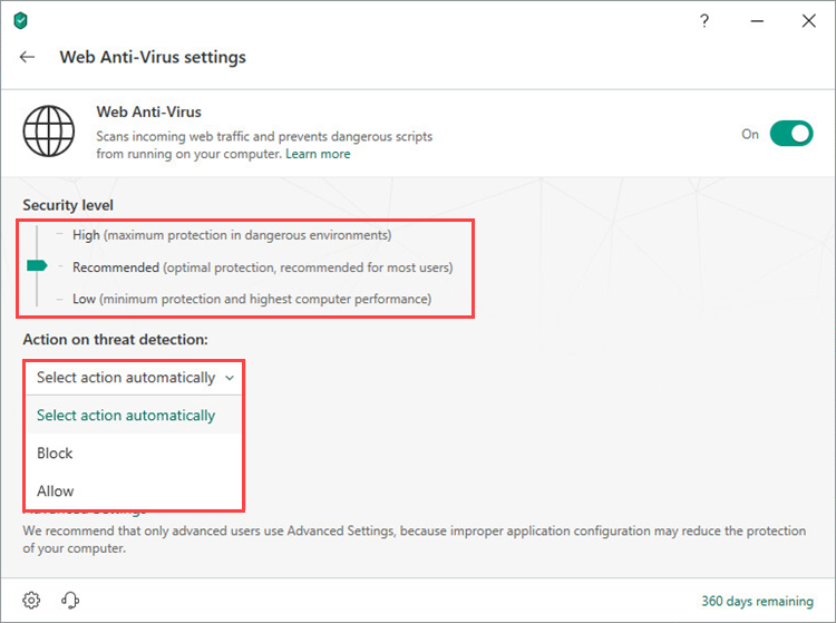 Selecting a security level and an action on threat detection in Kaspersky Total Security 19
