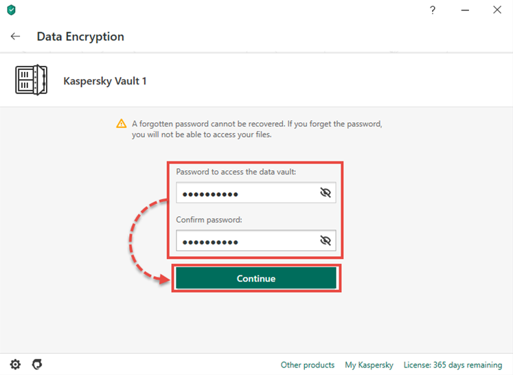 Creating a vault password in Kaspersky Security Cloud 20
