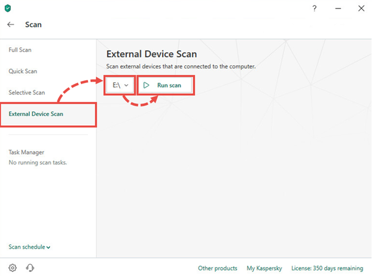 Running an external device scan in Kaspersky Internet Security 20