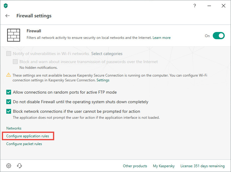 Opening the settings for application rules in Kaspersky Security Cloud 19