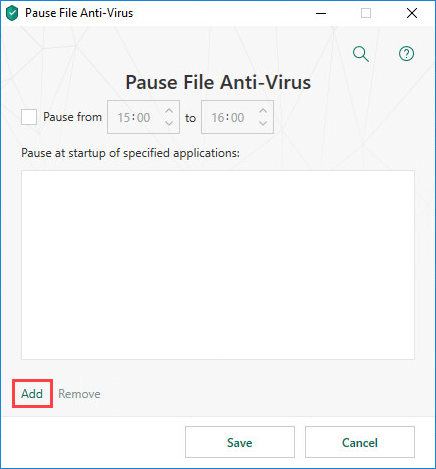 Selecting an application for pausing File Anti-Virus in Kaspersky Total Security 19
