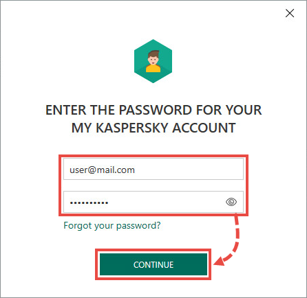 Signing in with My Kaspersky account