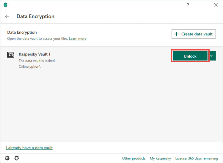 Opening a vault in Kaspersky Security Cloud 20