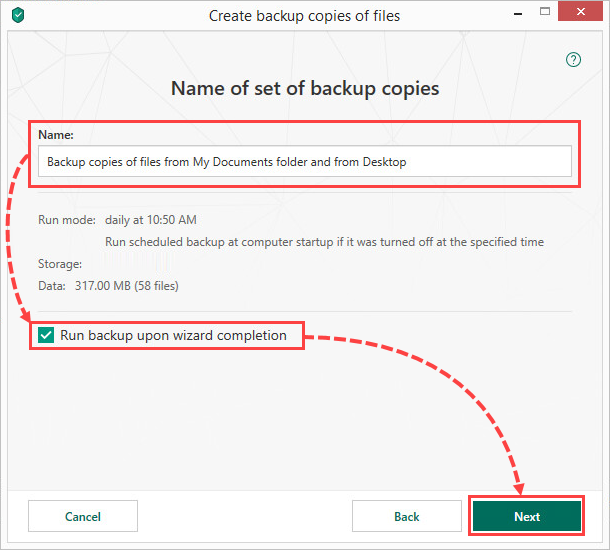 Running a backup in Kaspersky Total Security 19