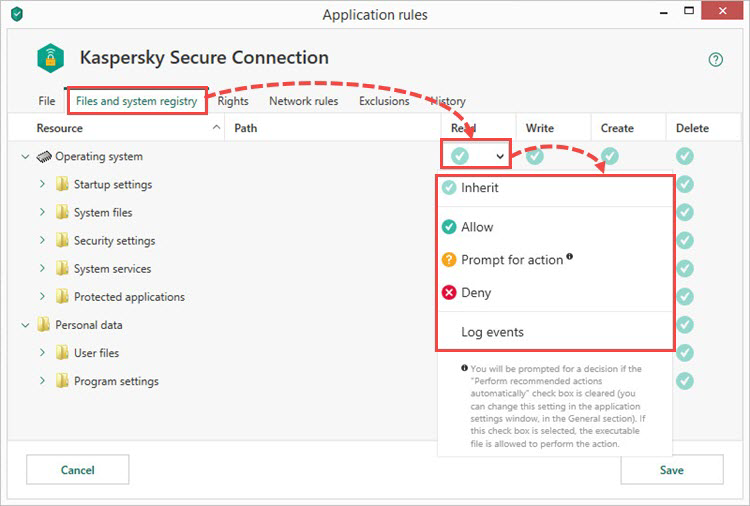 Configuring rules for files and the system registry in Kaspersky Internet Security 19
