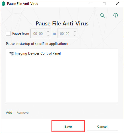 Adding an application that File Anti-Virus will not scan in Kaspersky Total Security 19