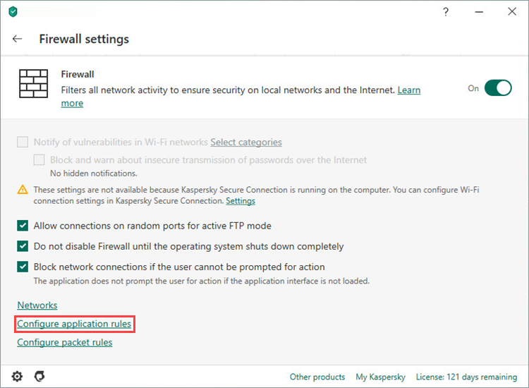 Opening application rules in Kaspersky Total Security 20