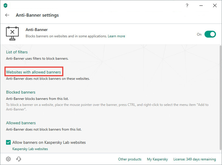 Setting up allowed banners in Kaspersky Total Security 19