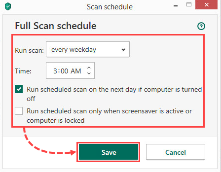 Configuring a scan schedule in Kaspersky Internet Security 20