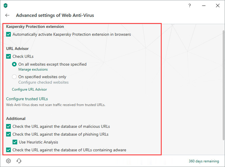 Configuring advanced settings for the Web Anti-Virus component in Kaspersky Total Security 19