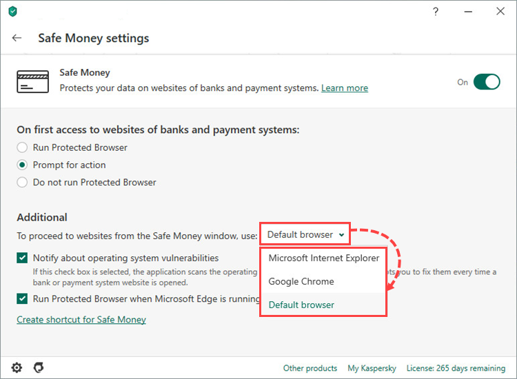 Selecting the browser to open Safe Money in Kaspersky Total Security 20