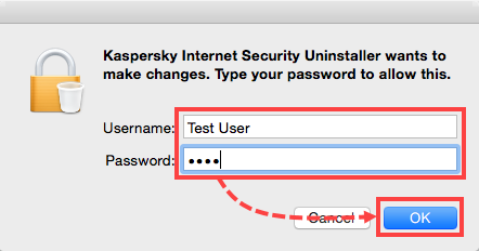 Enter the administrator password to uninstall Kaspersky Internet Security 16 for Mac