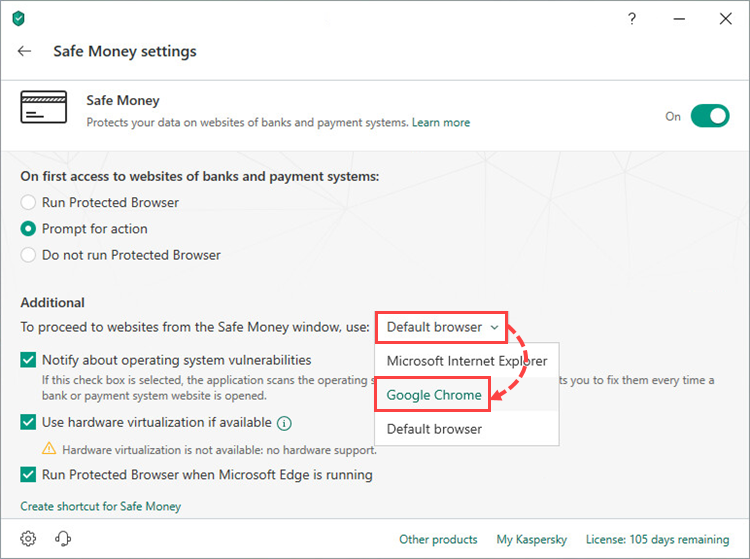 Selecting a browser for Safe Money in Kaspersky Internet Security 19