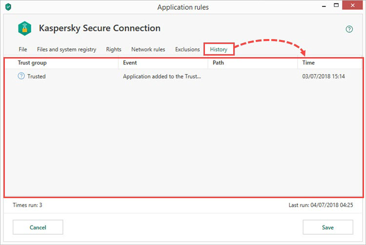 Viewing application history in Kaspersky Internet Security 19