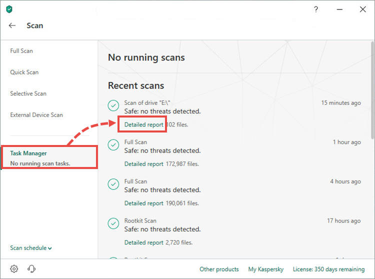 Opening the full scan report window in Kaspersky Internet Security 19