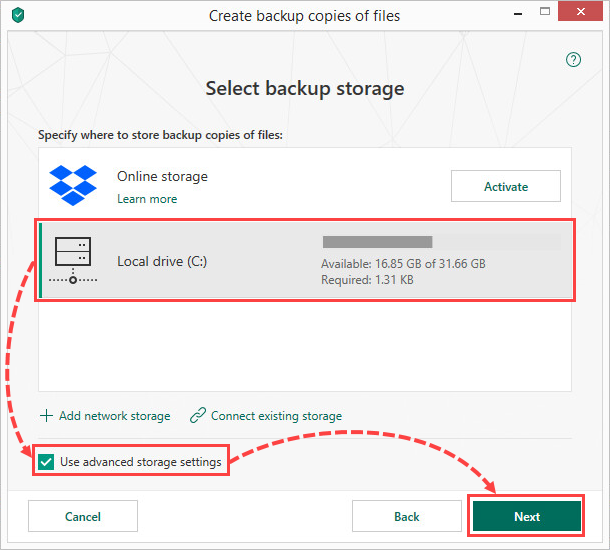 Selecting a local drive for creating file backups in Kaspersky Total Security 19