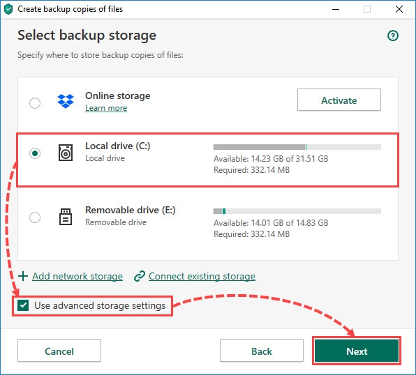 Selecting a local drive for creating file backups in Kaspersky Security Cloud 20