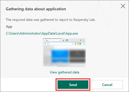 Sending the application data to Kaspersky Lab