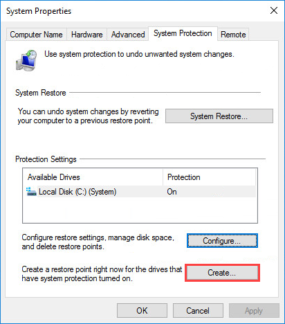 Opening the Windows 10 restore point creation window