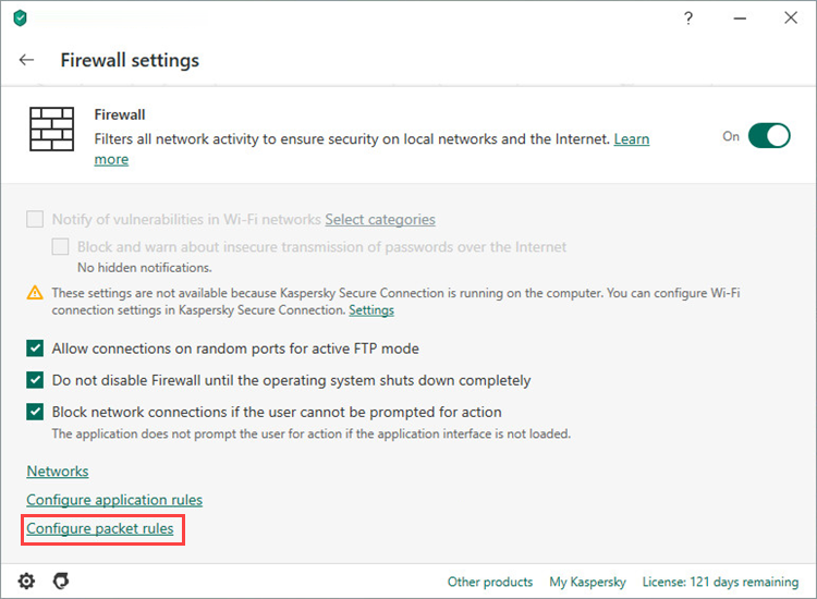 Opening packet rule settings in Kaspersky Total Security 20
