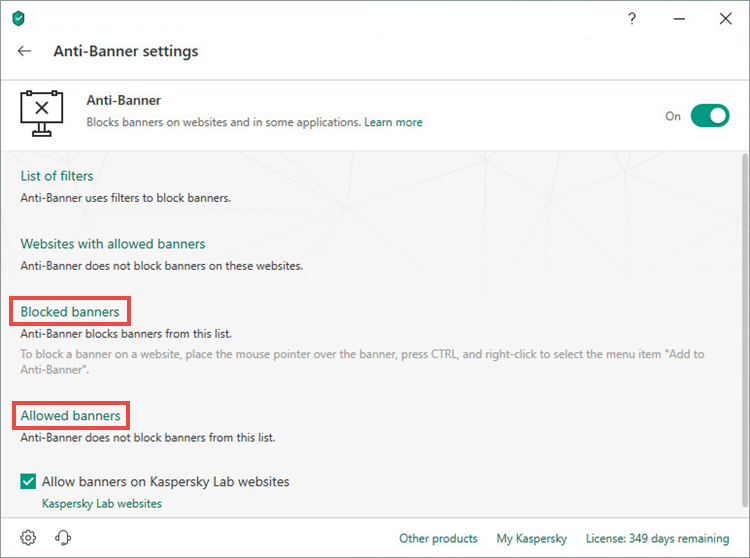 Opening the settings for allowing and blocking banners in Kaspersky Total Security 19