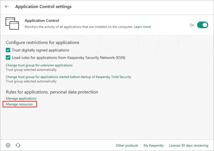 Opening the resources settings window of Kaspersky Internet Security 19