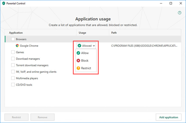 Opening application restriction settings in Kaspersky Internet Security 19