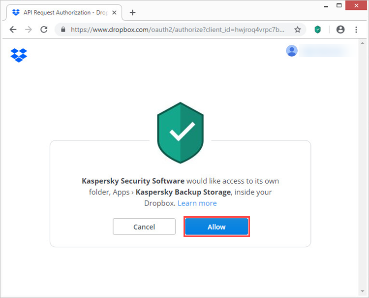 Granting Kaspersky Security Software access to Dropbox