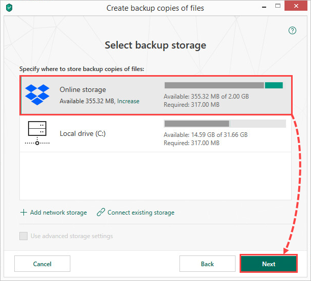Selecting an online storage for creating file backups in Kaspersky Security Cloud 19