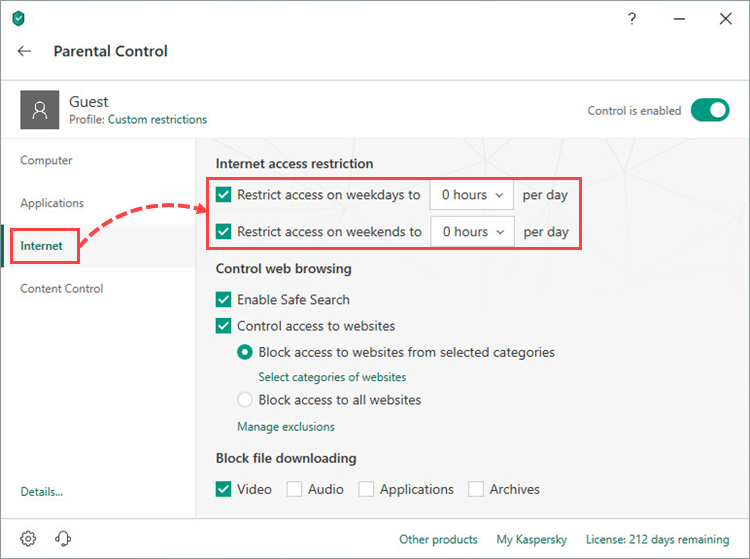 Setting time limits for Internet access in Kaspersky Internet Security 19 Parental Control