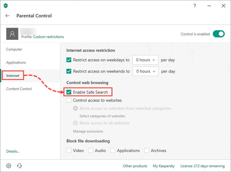 Enabling Safe Search in the Parental Control component of Kaspersky Internet Security 19