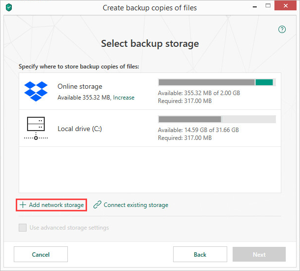 Adding a network storage in Kaspersky Total Security 19