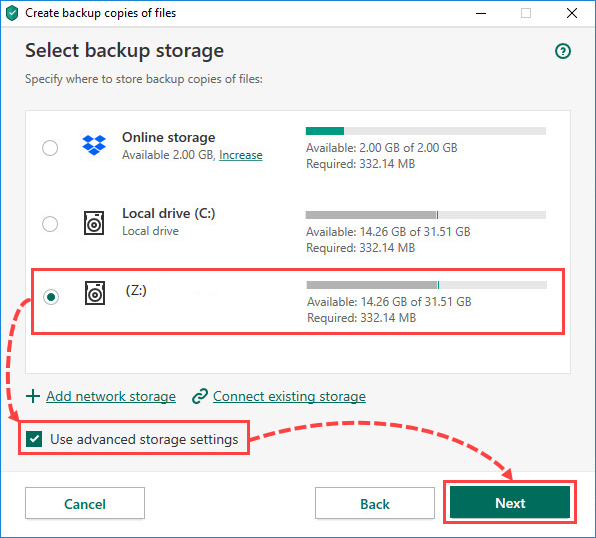 Selecting a network storage for creating file backups in Kaspersky Security Cloud 20