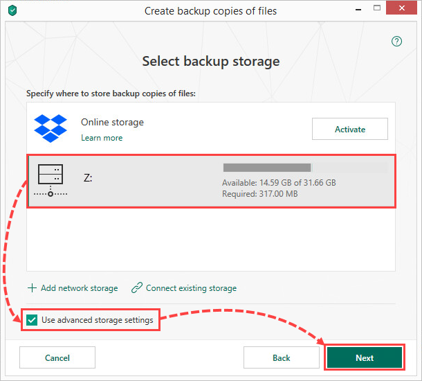 Selecting a network storage for creating file backups in Kaspersky Security Cloud 19