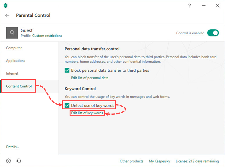 Enabling the detection of key words in the Parental Control component of Kaspersky Internet Security 19