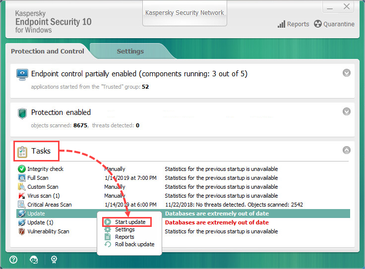 Running an update task manually in Kaspersky Endpoint Security 10 for Windows
