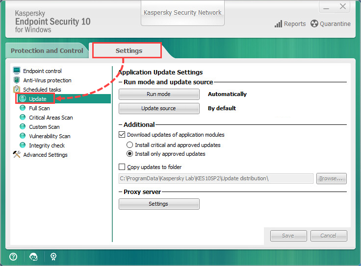Opening the update task settings in Kaspersky Endpoint Security 10 for Windows