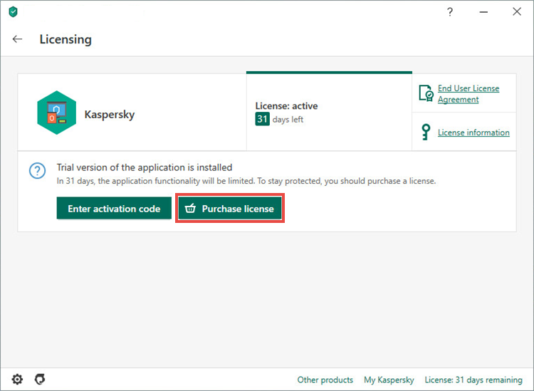 Opening the license purchasing page for Kaspersky Total Security 20