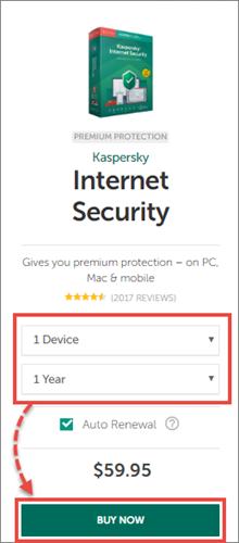 Buying the license for Kaspersky Internet Security 20