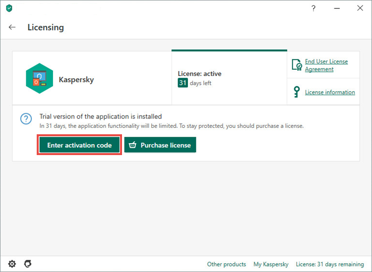 Opening the activation window in Kaspersky Total Security 20