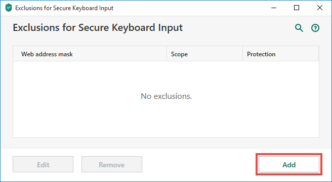 Opening the Exclusions window for On-Screen Keyboard in Kaspersky Total Security 20